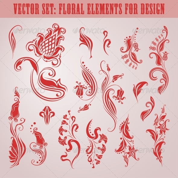 Vector Set of Floral Elements - Flourishes / Swirls Decorative