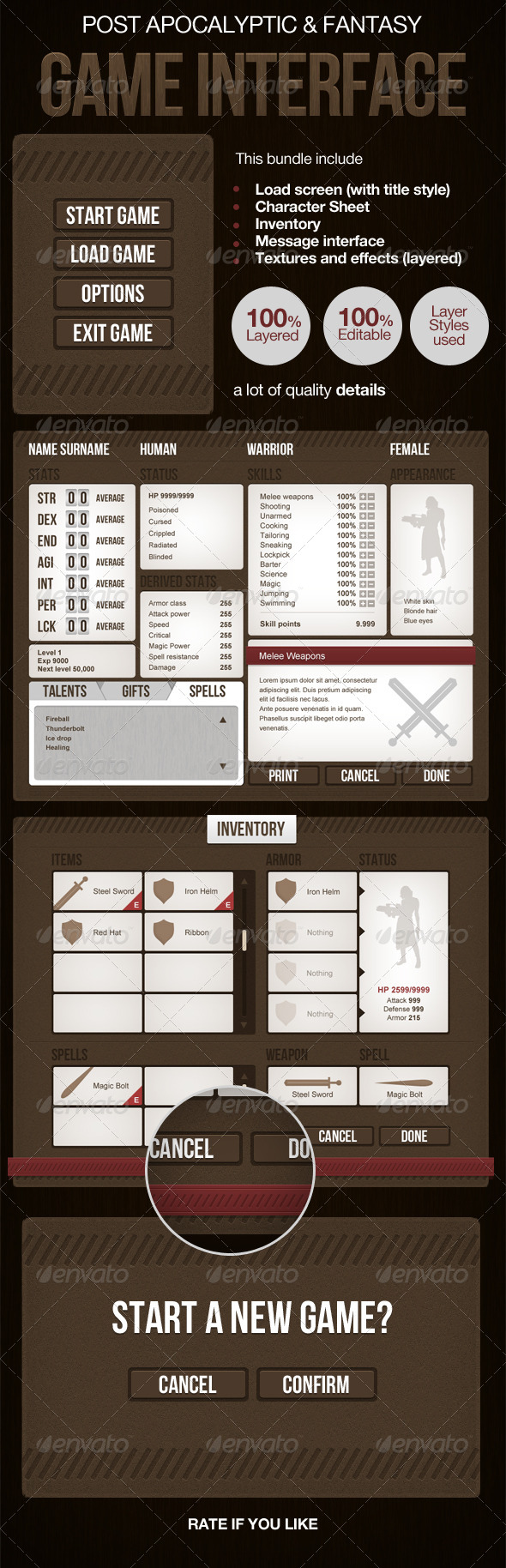 Post Apocalyptic or Medieval RPG Game Interface - User Interfaces Web Elements