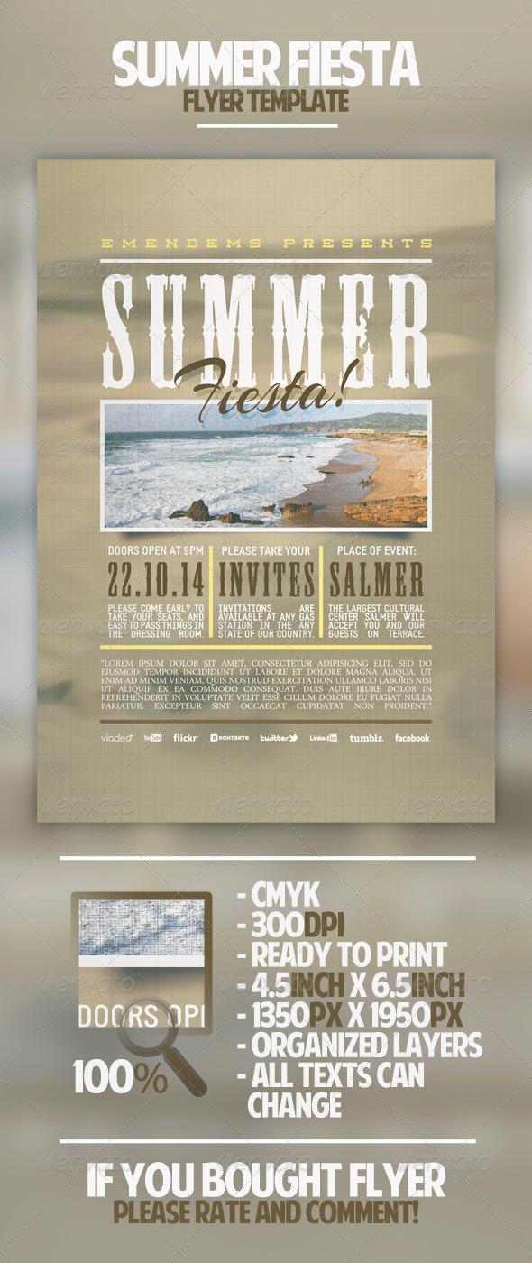 Summer Fiesta Flyer Template - Miscellaneous Events