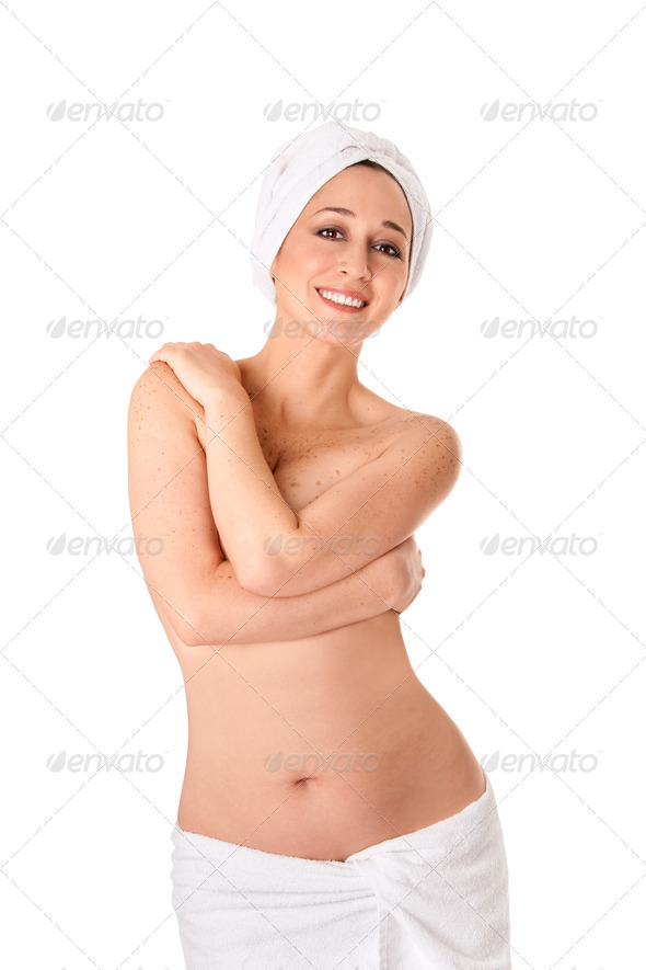 Woman in towels at Spa or Bath - Stock Photo - Images