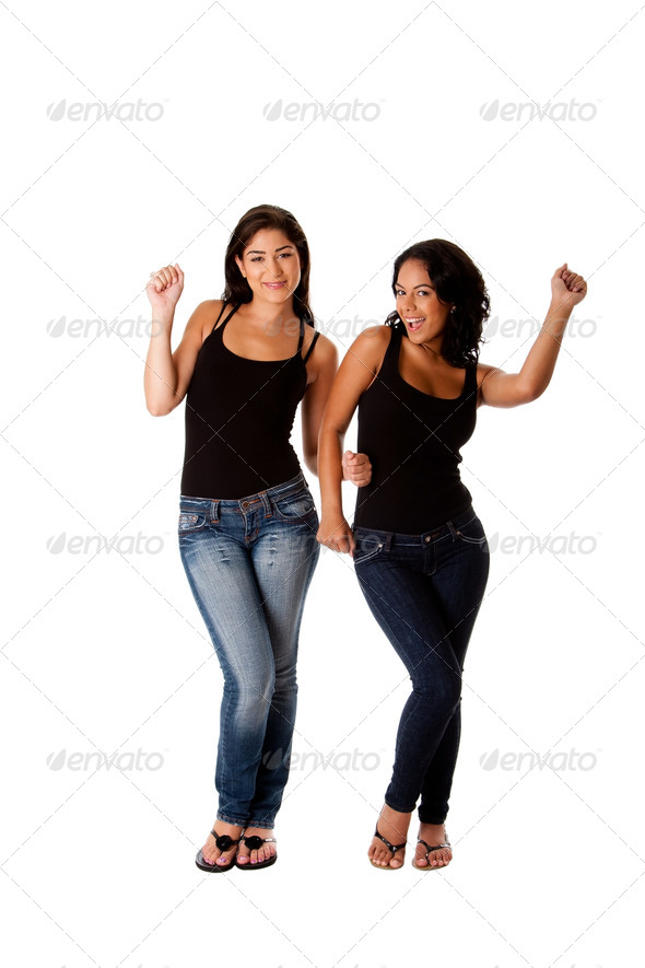 Dancing groovy teenager girls - Stock Photo - Images