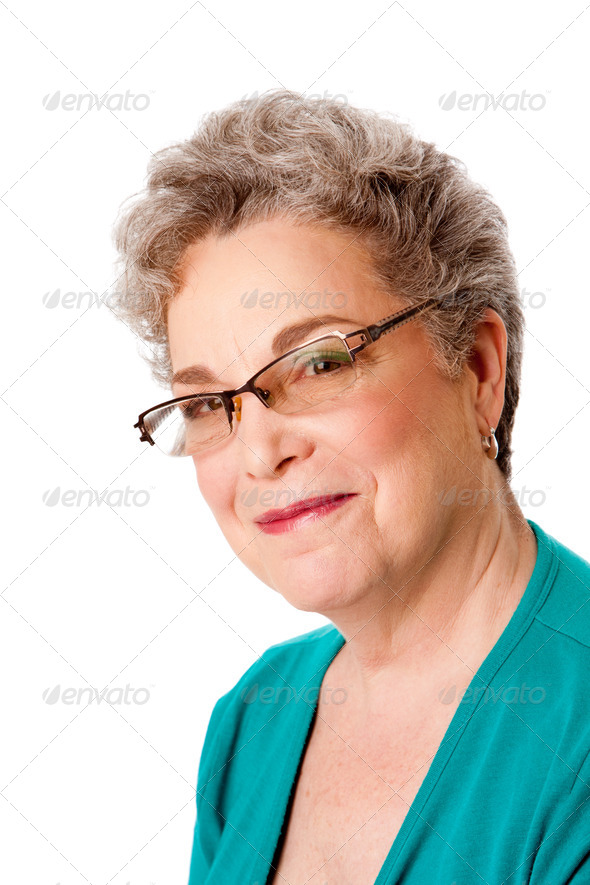 Beautiful Happy smiling senior woman face - Stock Photo - Images