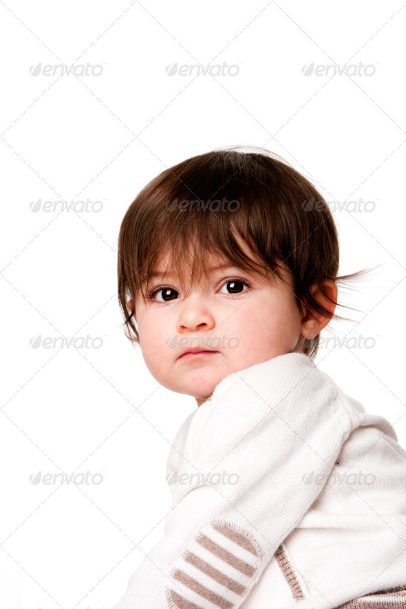 Cute innocent baby toddler face - Stock Photo - Images