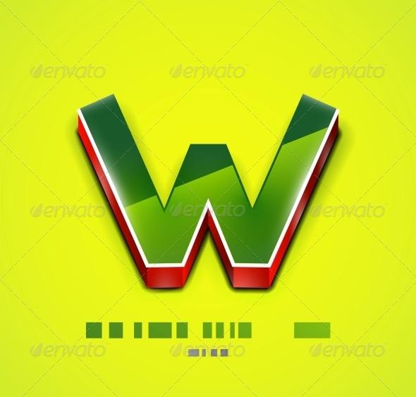 3D Vector W Letter. Tecnology Business Symbol - Web Elements Vectors