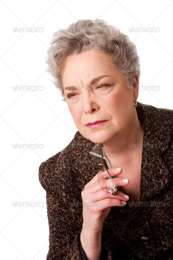 Senior woman thinking about future - Stock Photo - Images