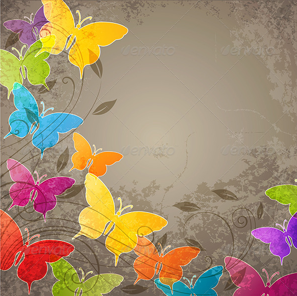 Butterflies and Floral Ornament - Backgrounds Decorative