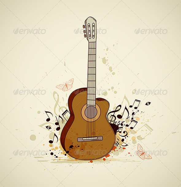 Guitar and Notes - Miscellaneous Vectors