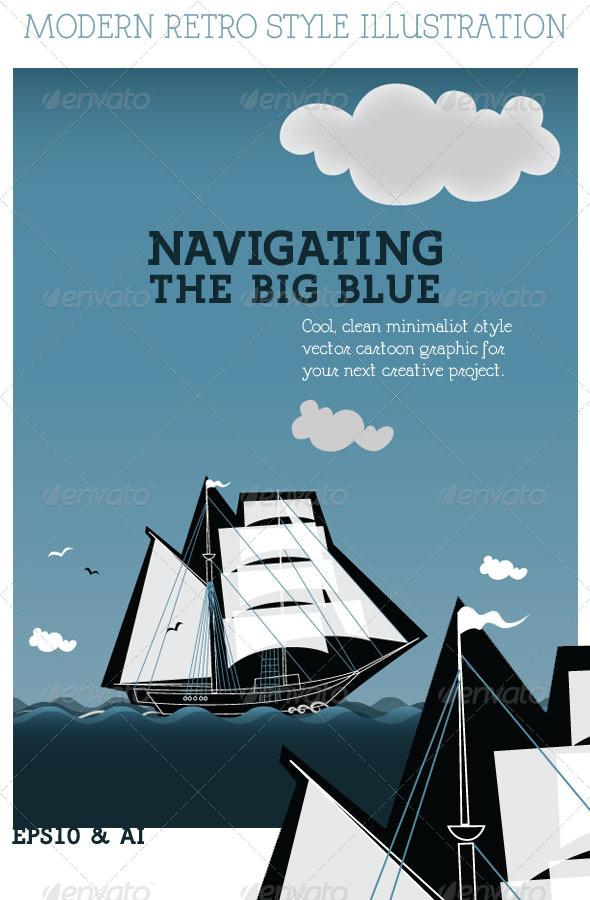 Navigation; Ship on the Ocean  - Miscellaneous Seasons/Holidays