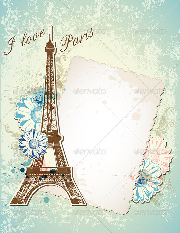 Old Frame and  Eiffel Tower - Backgrounds Decorative