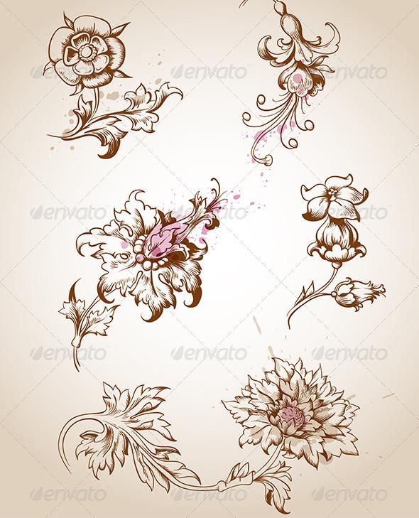 Victorian Floral Design Elements - Flourishes / Swirls Decorative