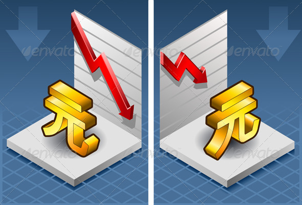 Isometric Yuan Renminbi with Red Arrow Down - Conceptual Vectors