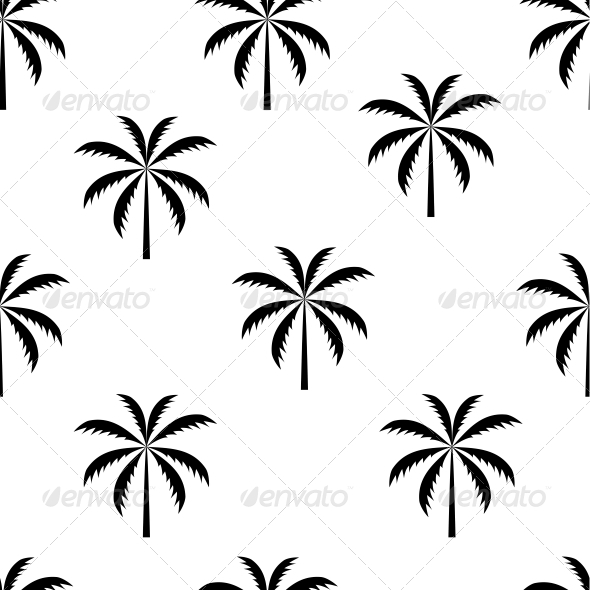 Palm Tree Seamless Pattern Vector Illustration - Flowers & Plants Nature