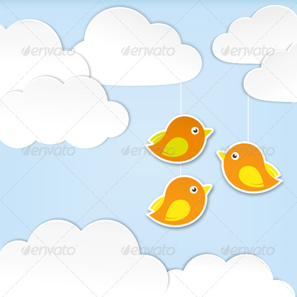 Paper Clouds with Birds - Backgrounds Decorative