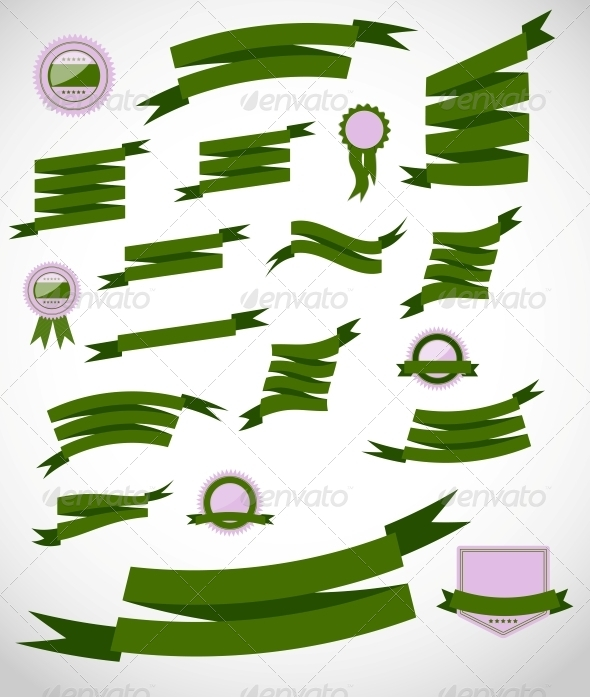 Set retro ribbons and label  vector illustration - Backgrounds Business