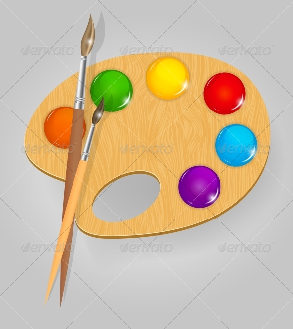 Wooden Art Palette with Paints and Brushes - Miscellaneous Vectors