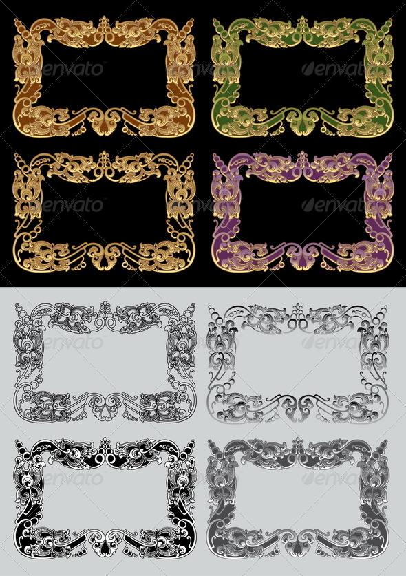 Balinese Ornament Frame 3 - Flourishes / Swirls Decorative