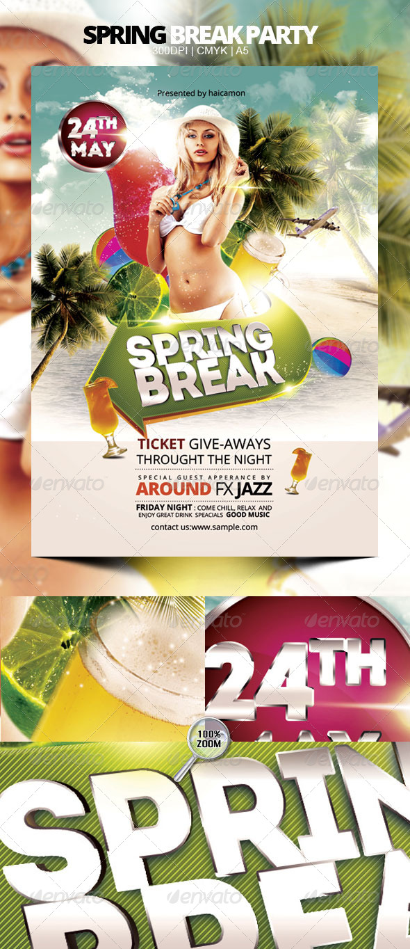 Spring Break Party - Flyers Print Templates