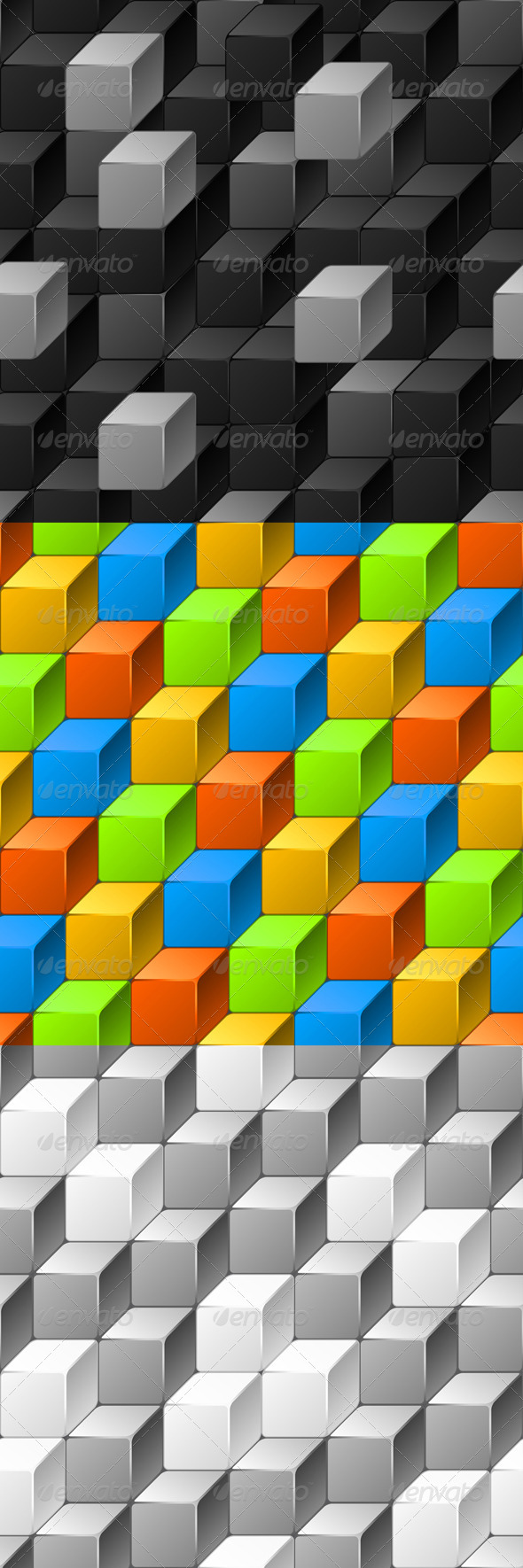 Abstract Seamless Patterns of Cubes. - Patterns Decorative