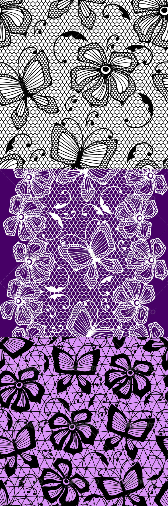 Seamless Lace Patterns with Butterflies. - Patterns Decorative