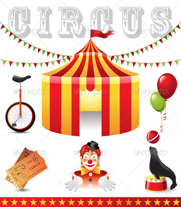 Circus Icons - Objects Vectors