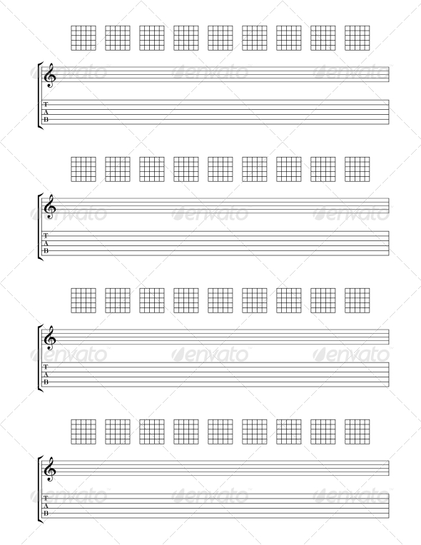 Guitar TAB Staff - Decorative Symbols Decorative