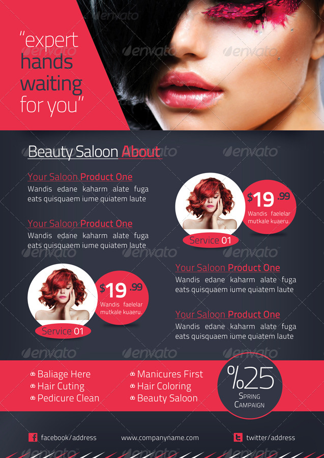 Beauty Salon Brochure Template By Grafilker GraphicRiver - Hair salon brochure templates
