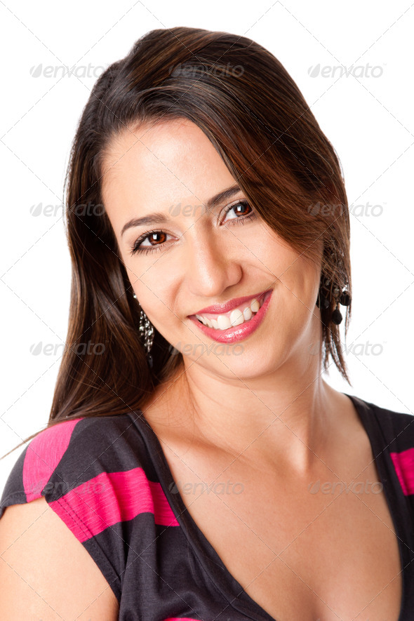 Happy smiling young woman - Stock Photo - Images