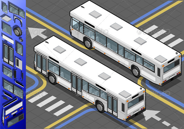Isometric Bus in Rear View - Objects Vectors