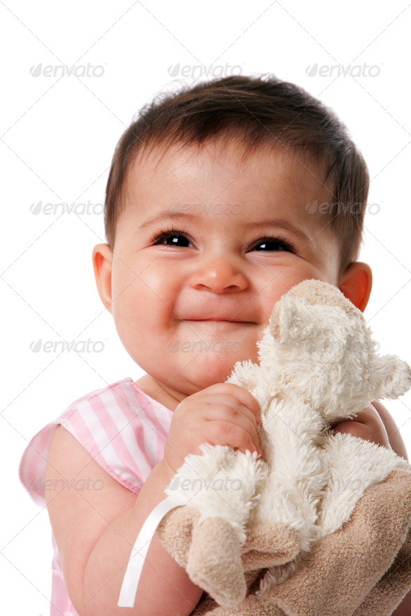 Happy baby with security blanket - Stock Photo - Images