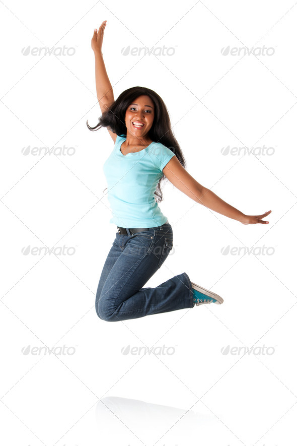 Jumping from happiness - Stock Photo - Images