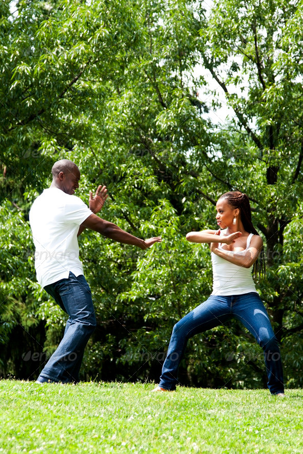 Martial Arts excercise couple - Stock Photo - Images