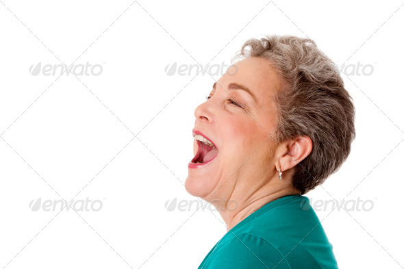 Happy senior woman talking screaming yelling singing - Stock Photo - Images