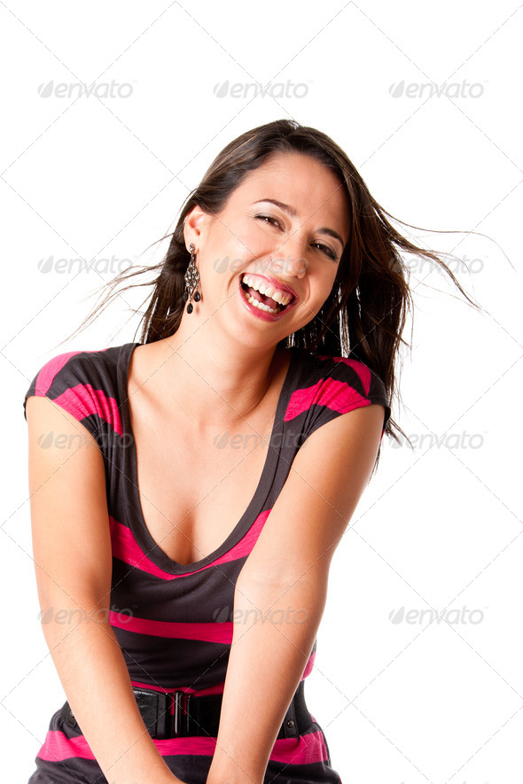 Happy laughing young woman - Stock Photo - Images