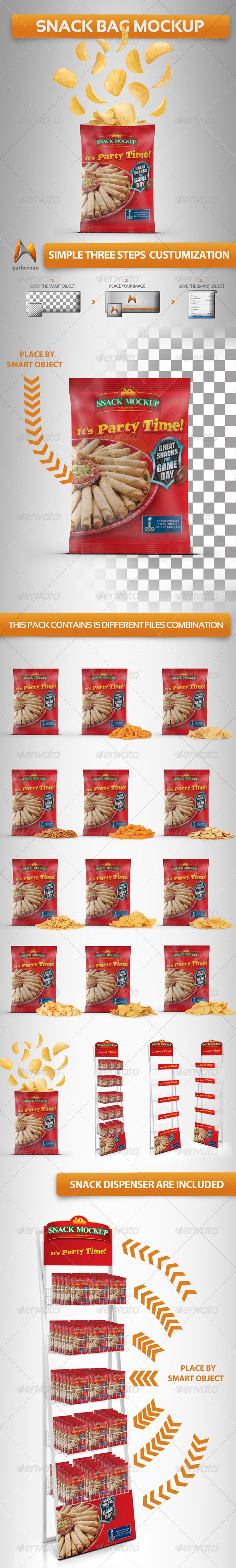 Snack Bag Mockup - Food and Drink Packaging