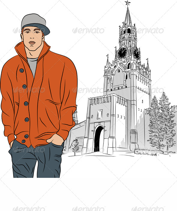 Vector Sketch of the Stylish Guy in Moscow - People Characters