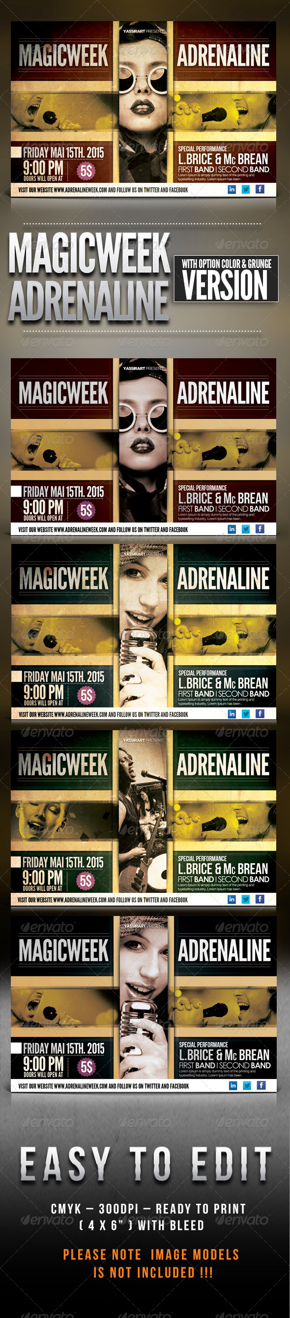 Magic Week Adrenaline Flyer Template - Clubs & Parties Events