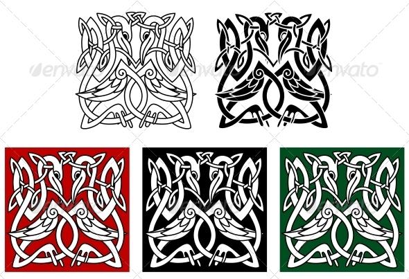 Heron Birds Ornament - Decorative Symbols Decorative