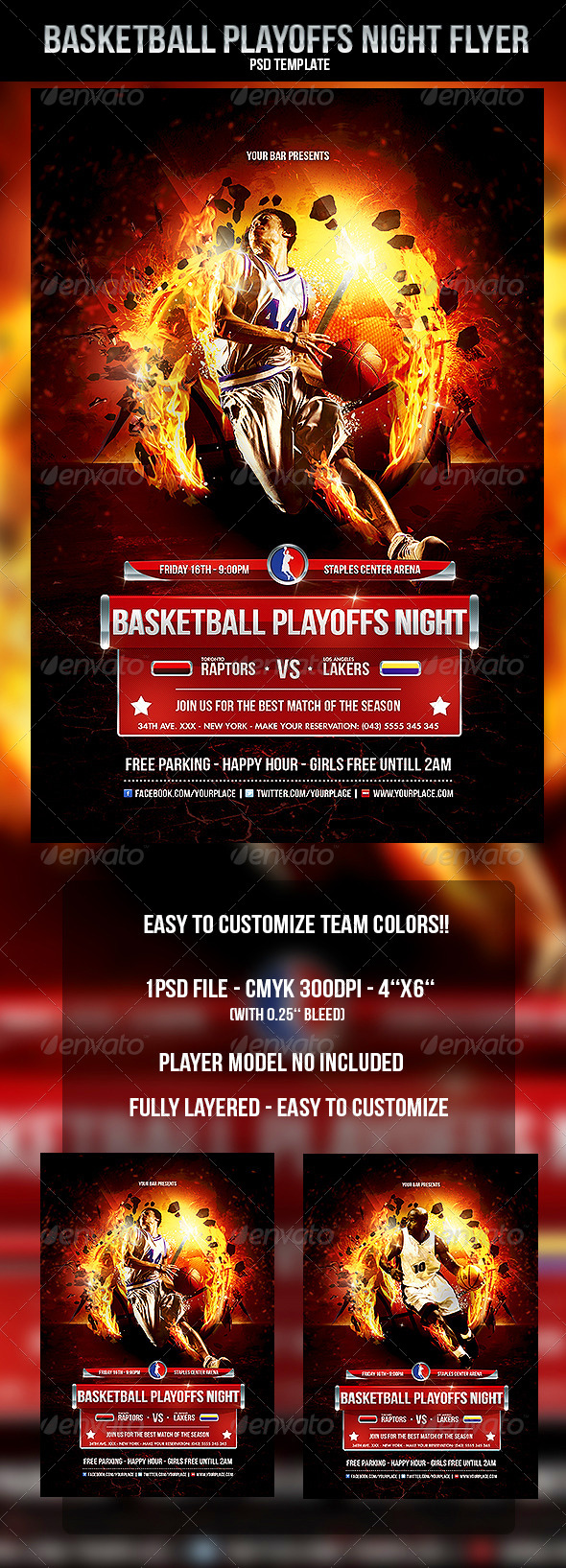Basketball Playoffs Night Flyer Template by OdinDesign – Bar Flyer Template