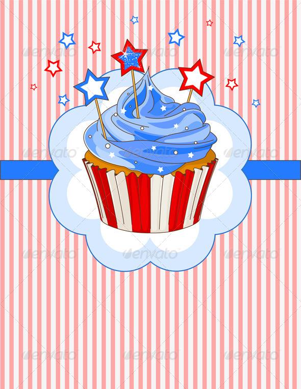 Patriotic Cupcake Place Card - Seasons/Holidays Conceptual
