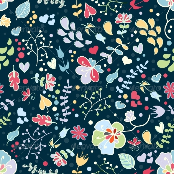 Vector Floral Seamless Pattern - Patterns Decorative