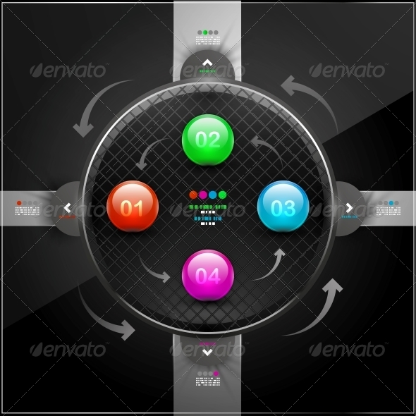 Abstract Detailed Infographics with 4 Options - Web Elements Vectors