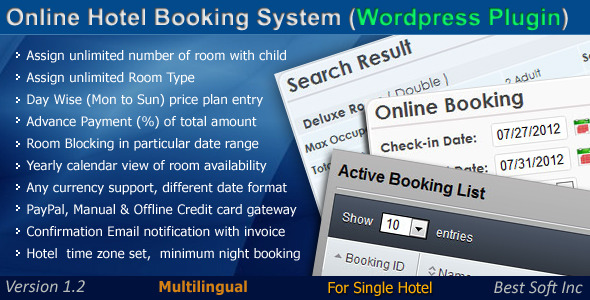 Online Hotel Booking System (WordPress Plugin) - CodeCanyon Item for Sale
