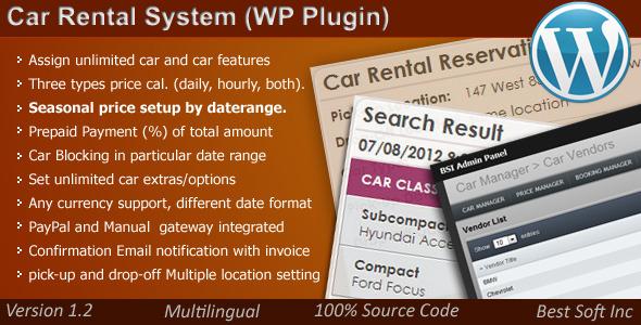 Car Rental System (WordPress Plugin) - CodeCanyon Item for Sale
