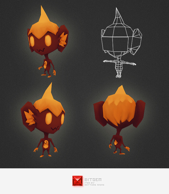 Low Poly Fire Alien - 3DOcean Item for Sale