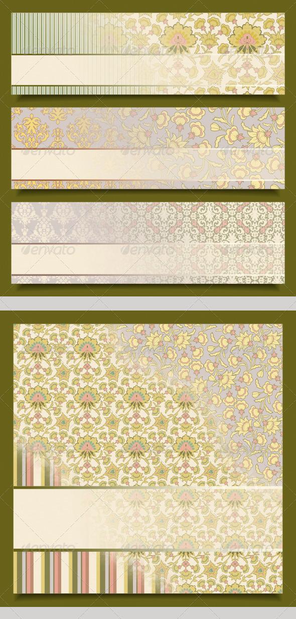Vintage Floral Banners Retro Pattern Design Set  - Backgrounds Decorative