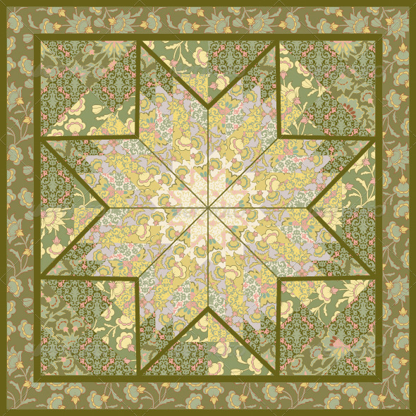 Quilting Pattern Background Design with Star Motive - Backgrounds Decorative