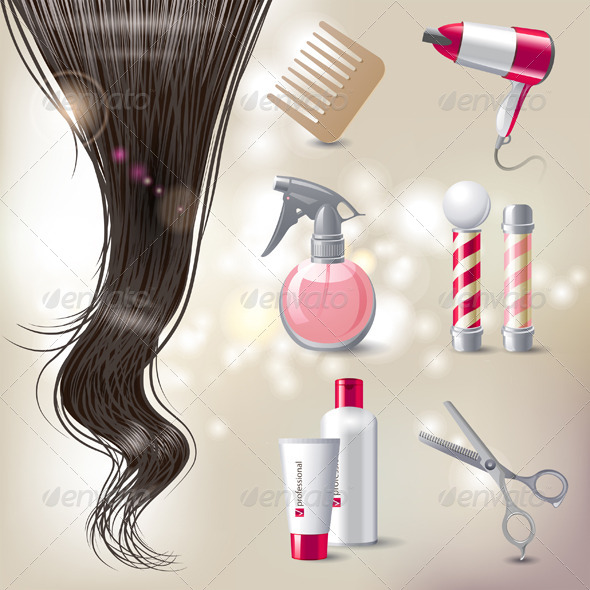Hair Care - Objects Vectors