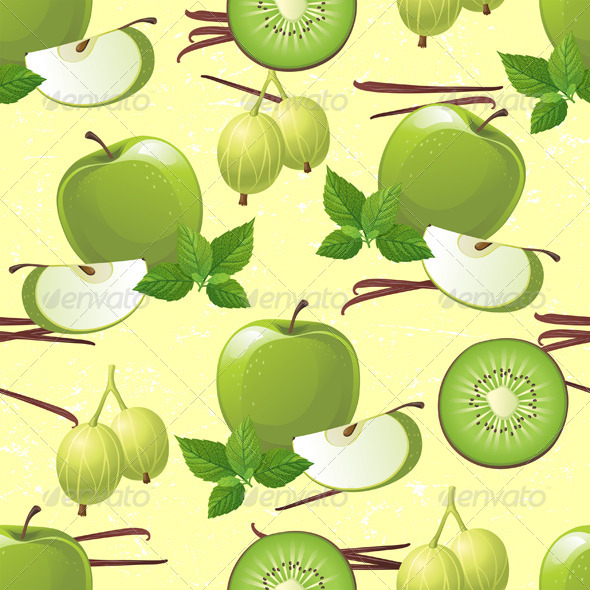 Green Fruits Seamless - Patterns Decorative