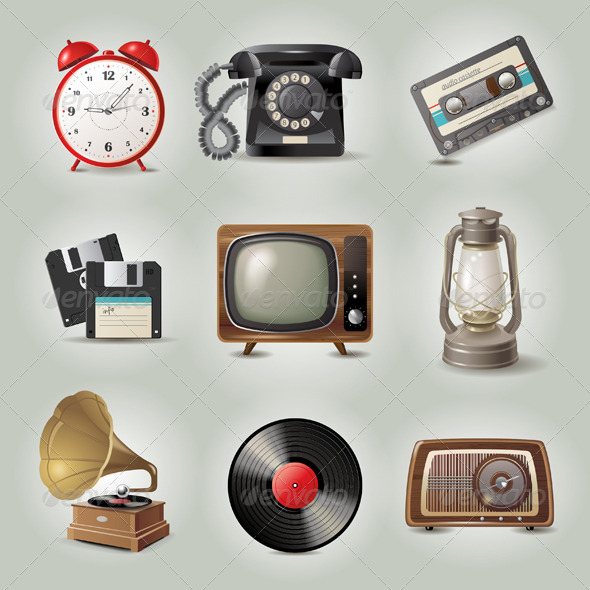 Retro Icons - Objects Vectors