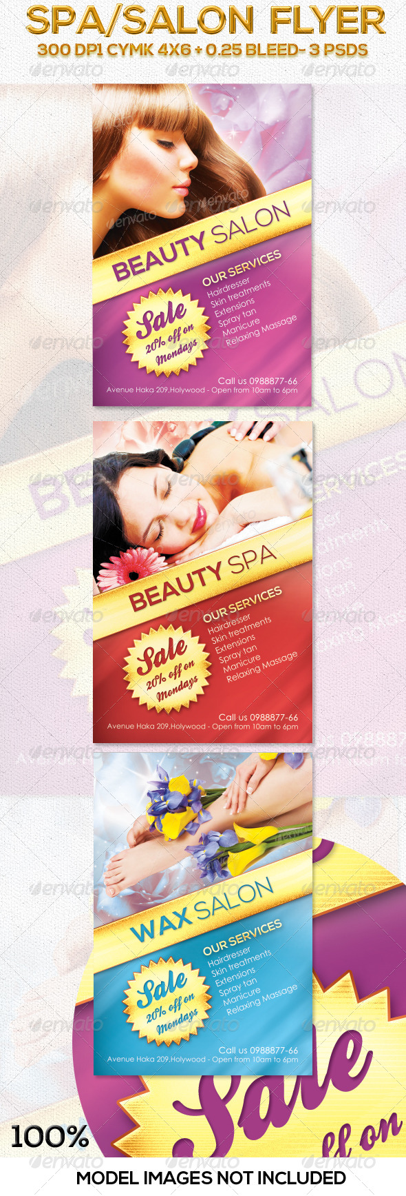 Salon / Spa Flyer in 3 Colors - Commerce Flyers